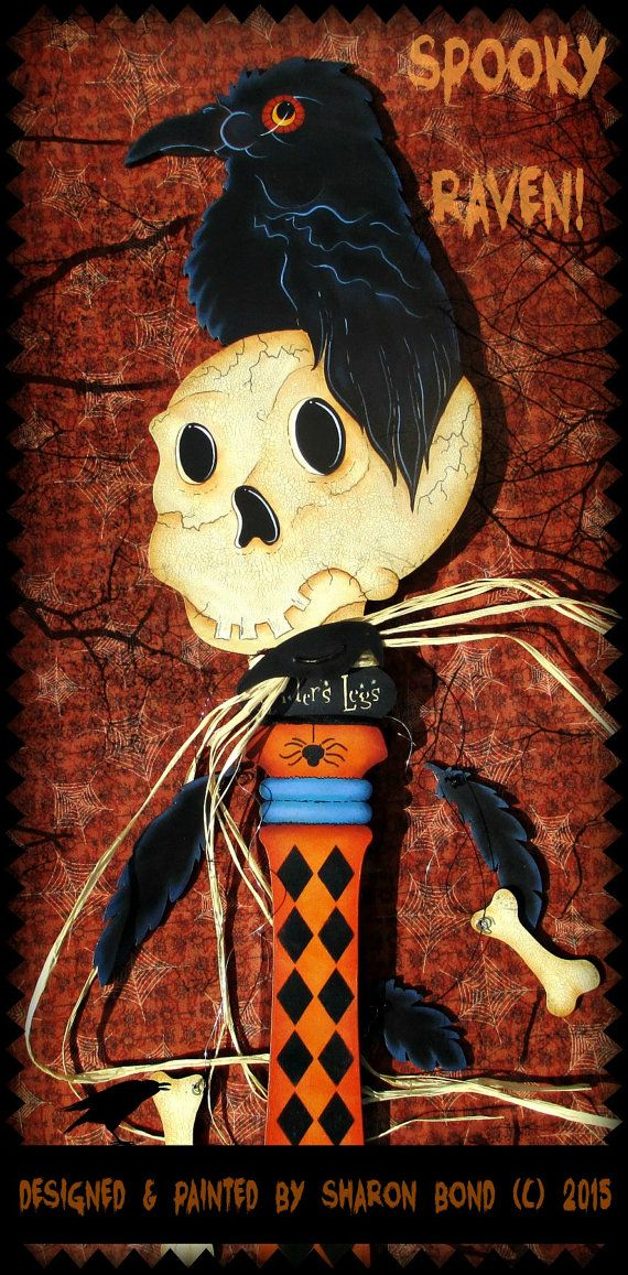 E PATTERN Spooky Raven Halloween Key LARGE SIZE Raven by