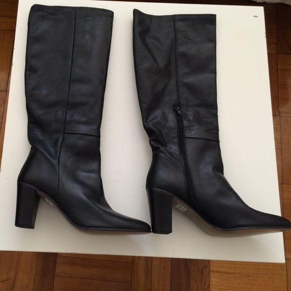 Black 100% leather knee-high boots 100% leather knee-high boots. Purchased in Europe from German brand Salamander. Never been worn. Salamander Shoes Heeled Boots