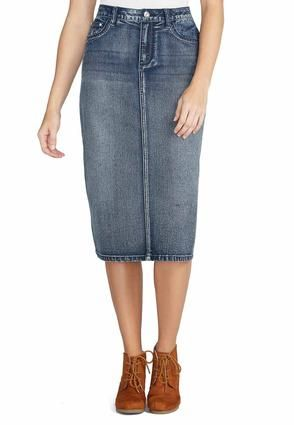 Cato Fashions Crystal Embellished Denim Skirt