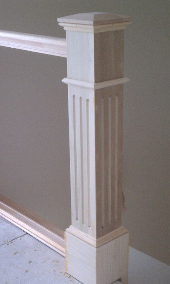 40 Box Newel Post Primed By Redclaywoodworks On Etsy 325 00 Stairway Design Newel Posts Staircase Makeover