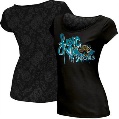 Reebok Jacksonville Jaguars Ladies Painted Love Lace Burnout Premium T-Shirt  - Black  FanaticsWishList c008fb49c