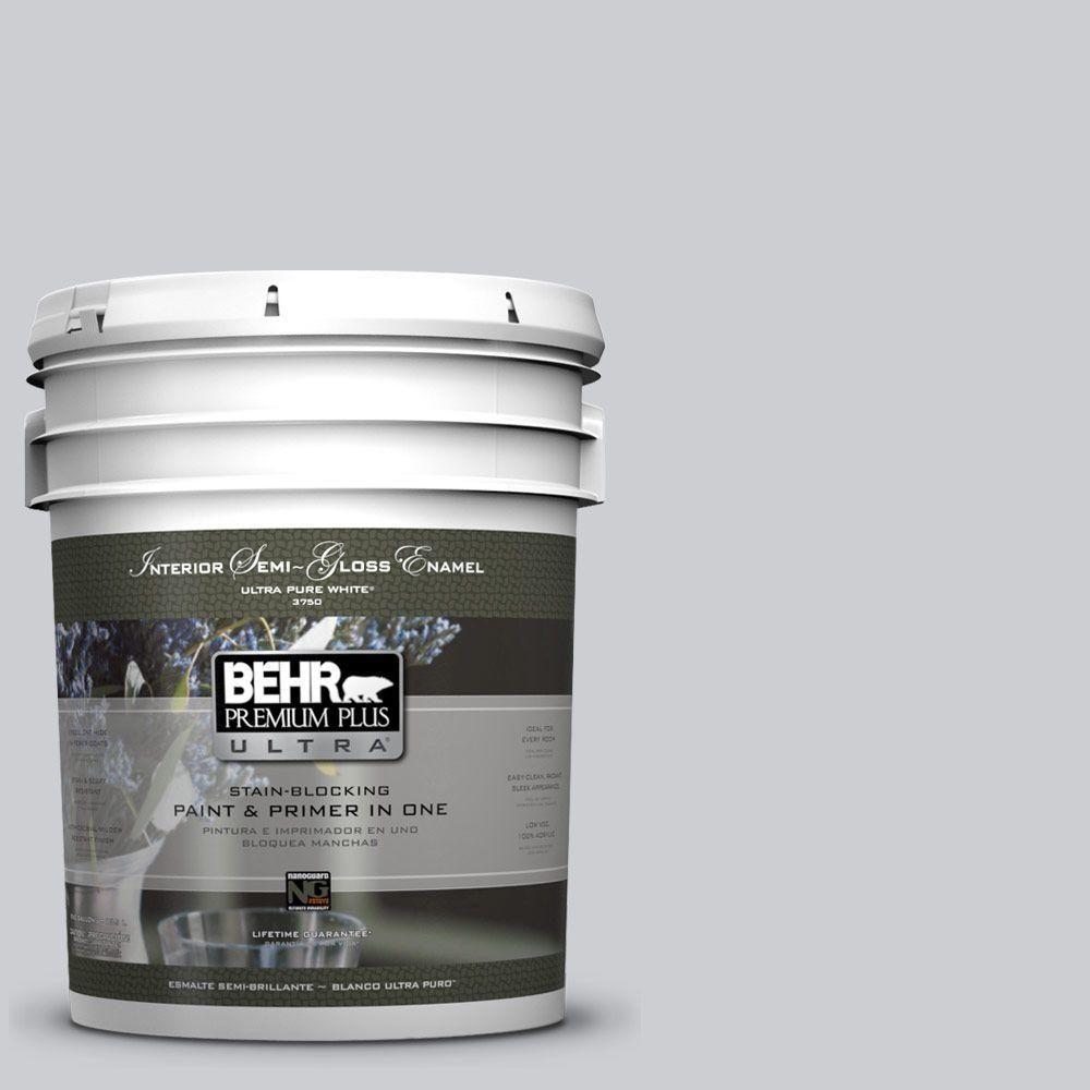 Behr Premium Plus Ultra 5 Gal 760e 2 Manhattan Mist Semi Gloss Enamel Interior Paint Behr Home Depot In The Woods