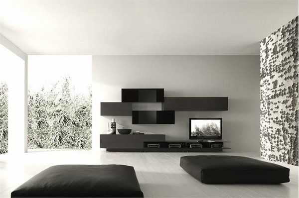 Minimalist Living Room Furniture Ideas Black White Wall Color Floor