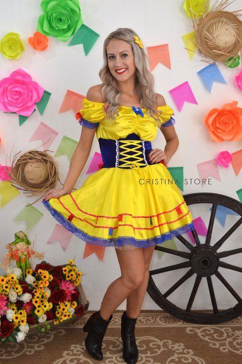 Vestido Amarelo Sun - Caipira Chic  d146f665fa2