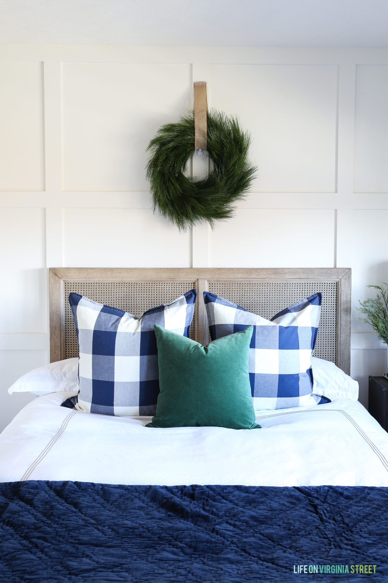 Christmas home tour entryway and guest bedroom white bedding