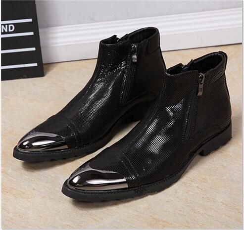 Metal Pointed Toe Men Short Chelsea Boots  7561decb81ba