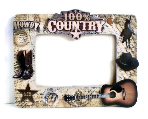 wooden picture frame cowboy country style by auriesdesignsetsycom