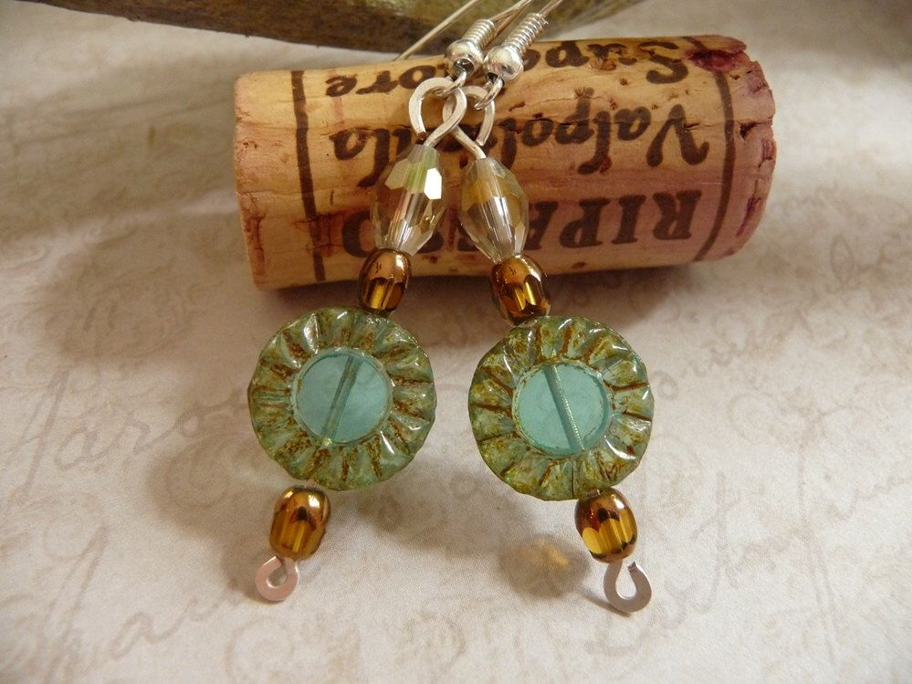 Czech Glass Bead Earrings Amber Earrings, Bronze Amber Beads Dangle Earrings Aqua Earrings Glass Jewlery Czech Glass Jewels by fancyyoudesigns on Etsy https://www.etsy.com/listing/207187533/czech-glass-bead-earrings-amber-earrings