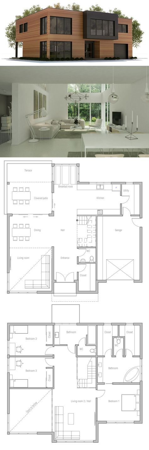 Ch357 Floor Area 2863 Sq Ft Building Area 1722 Sq Ft Bedrooms 3 Bathrooms 3 Floors 2 Height 1 House Plans Container House Plans Modern House Design