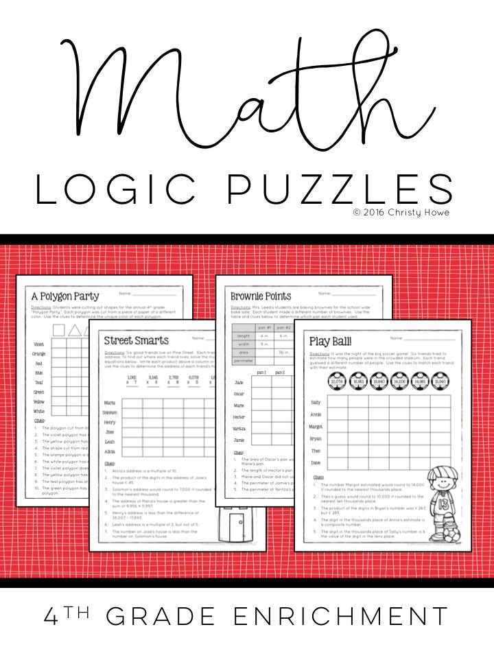 Math Logic Puzzles - 4th grade ENRICHMENT | Math logic puzzles ...