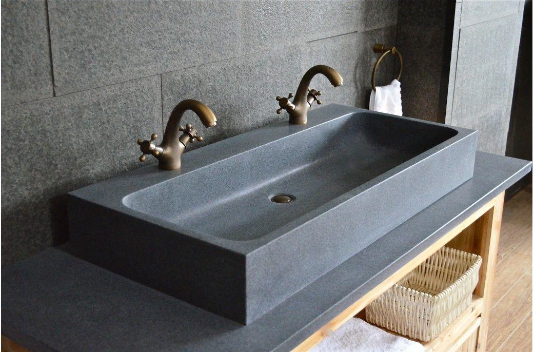 Vasque Granit Salle De Bain.Grande Double Vasque En Pierre 100x46 Granit Gris Looan En