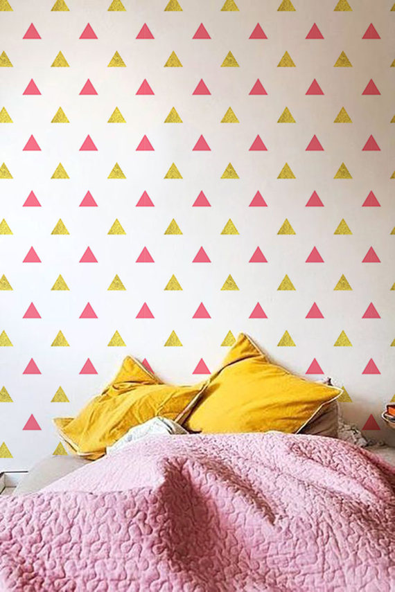 Best Pink Gold Triangle Pattern Self Adhesive Wallpaper 640 x 480