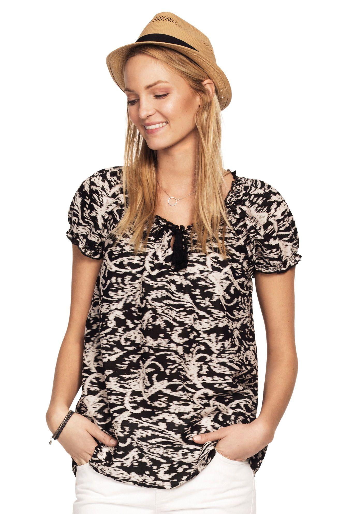381cc3412ed Ruffle Trim Peasant Blouse by ellos - Women s Plus Size Clothing ...