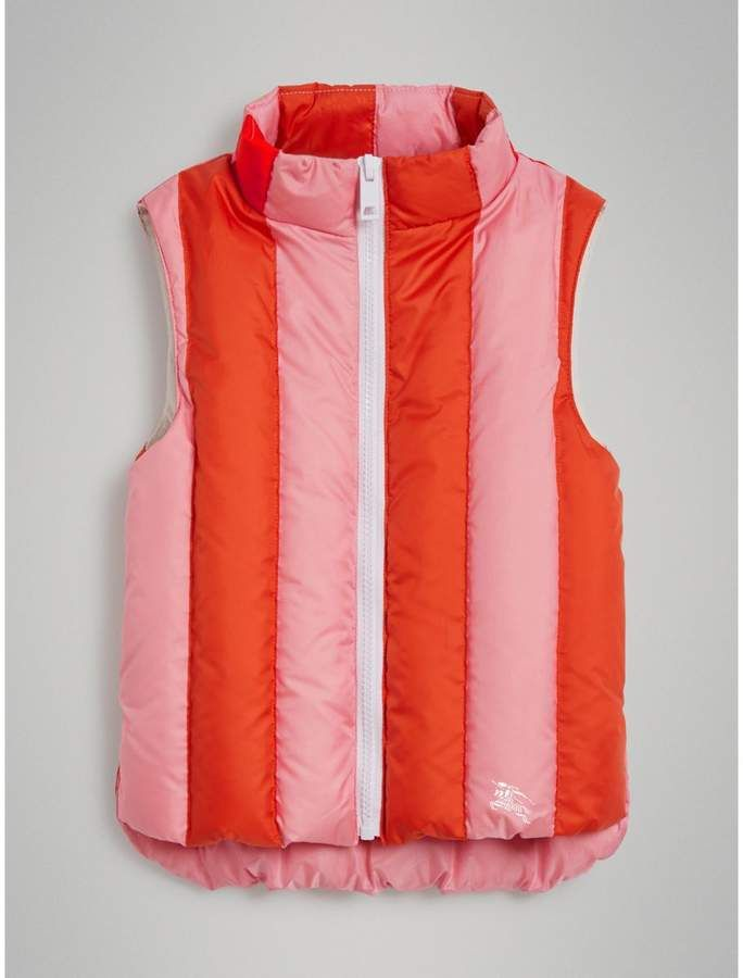 423091547ec6 Striped Showerproof Down-filled Gilet in Powder Pink - Children ...