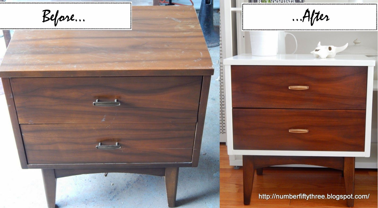 Painted Stained Mid Century End Tables Furniture Makeover