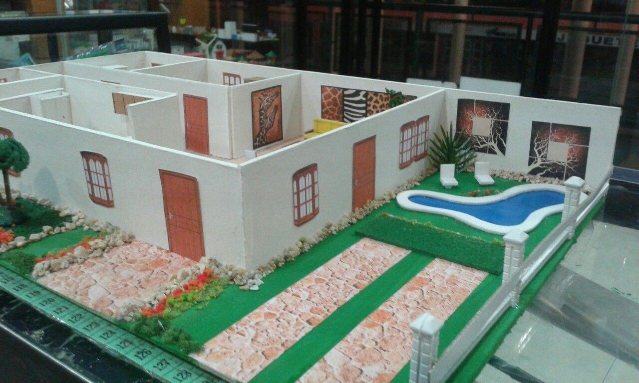 Casa con piscina yojhana bastidas maquetas 2 fair grounds for Como hacer una piscina pequena en casa