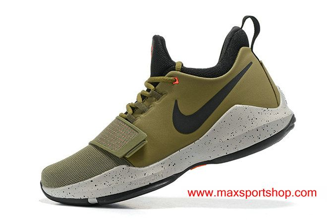 Discount Nike PG 1 Army Green Black Dots Basketball Shoes For Men Outlet