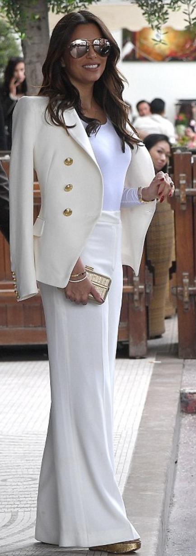 Eva Longoria: Sunglasses – Victoria Beckham Collection  Jacket – Balmain
