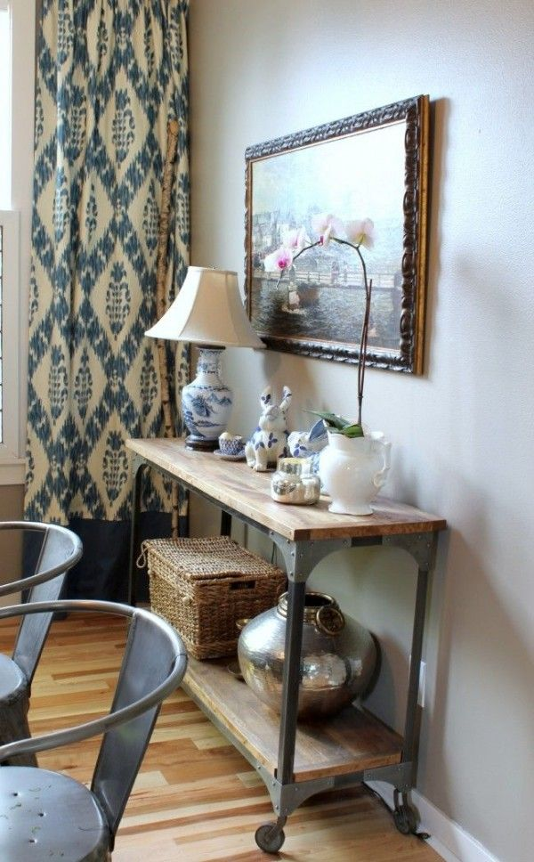 The Inspired Room Dining Console And Ikat Curtains Love These