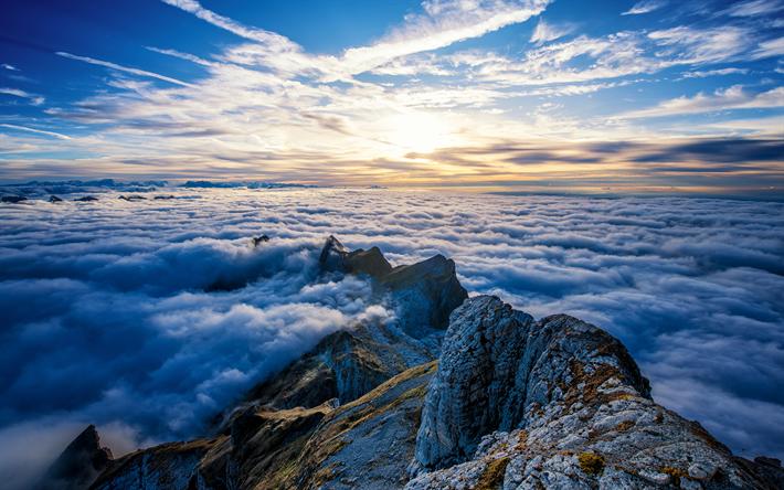Scarica Sfondi Saentis Monte 4k Mattina Le Nuvole Le
