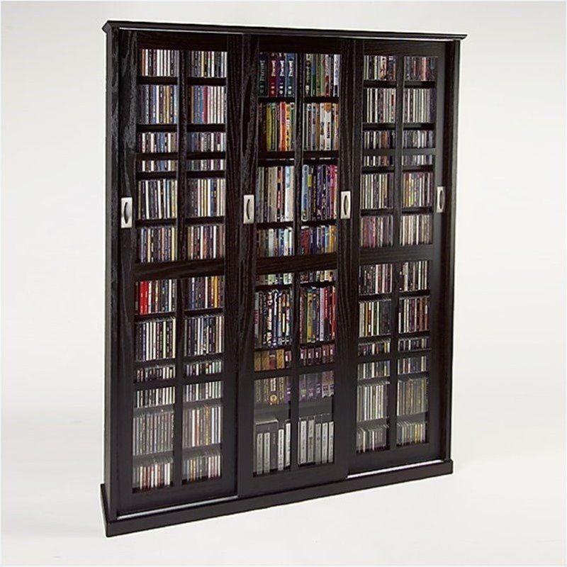 61 Triple Cd Dvd Wall Media Storage Cabinet In Espresso Furniture