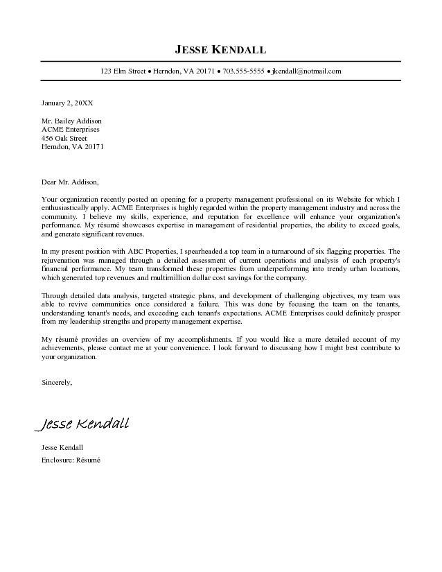 Example Of Job Cover Letter For Resume  Templates