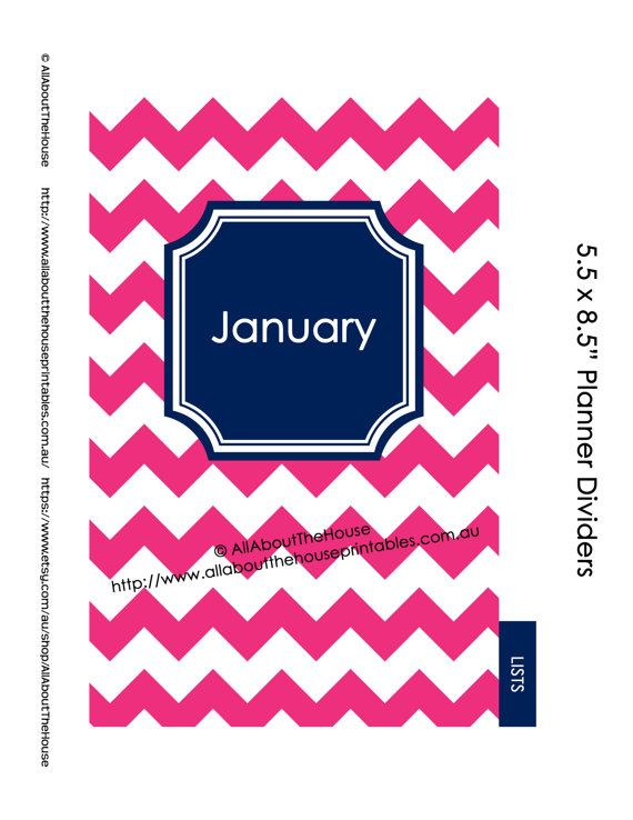 Planner Dividers Half Size Tabbed A5 filofax Printable Binder Cover ...
