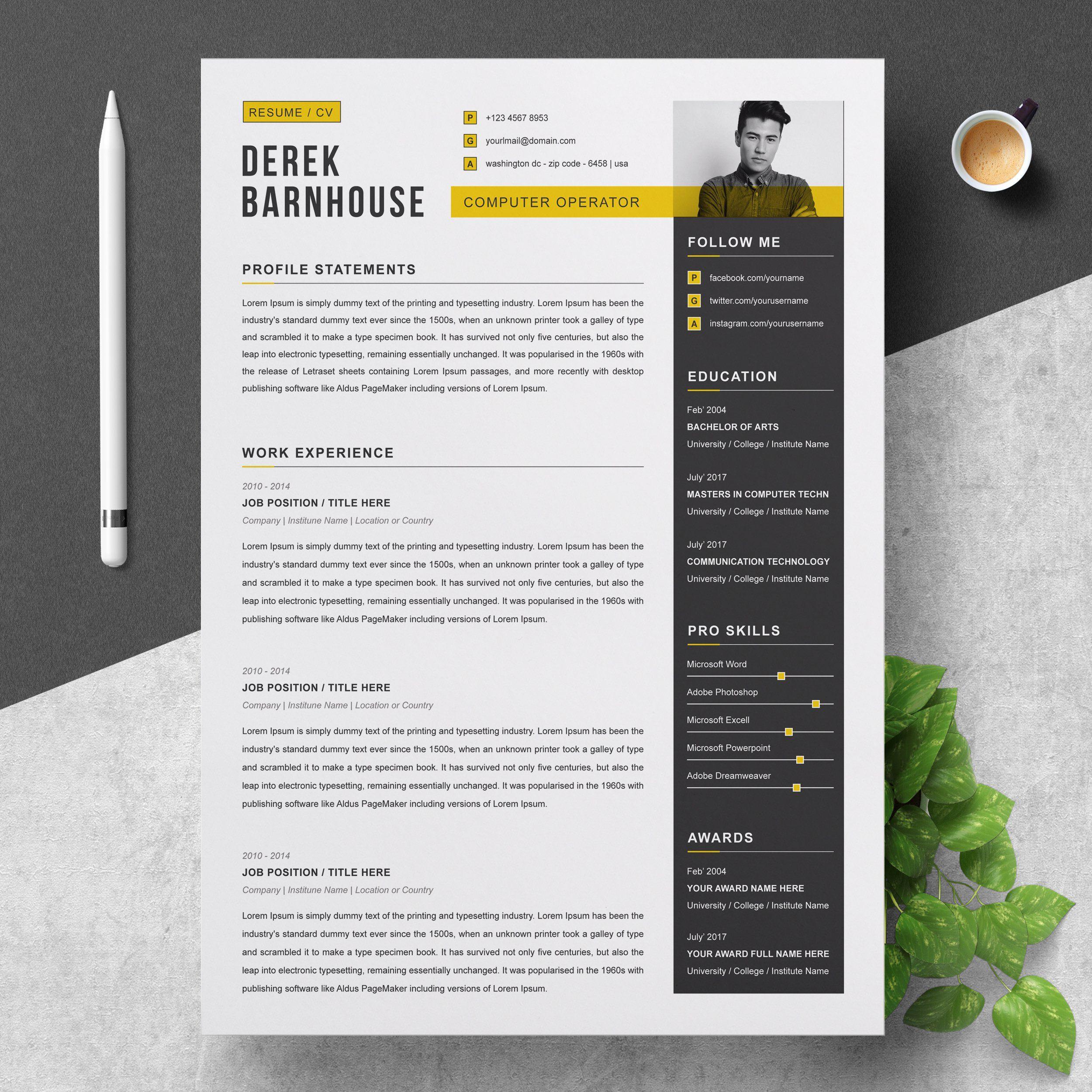 Cv Template Curriculum Vitae Resume Design Cv Template