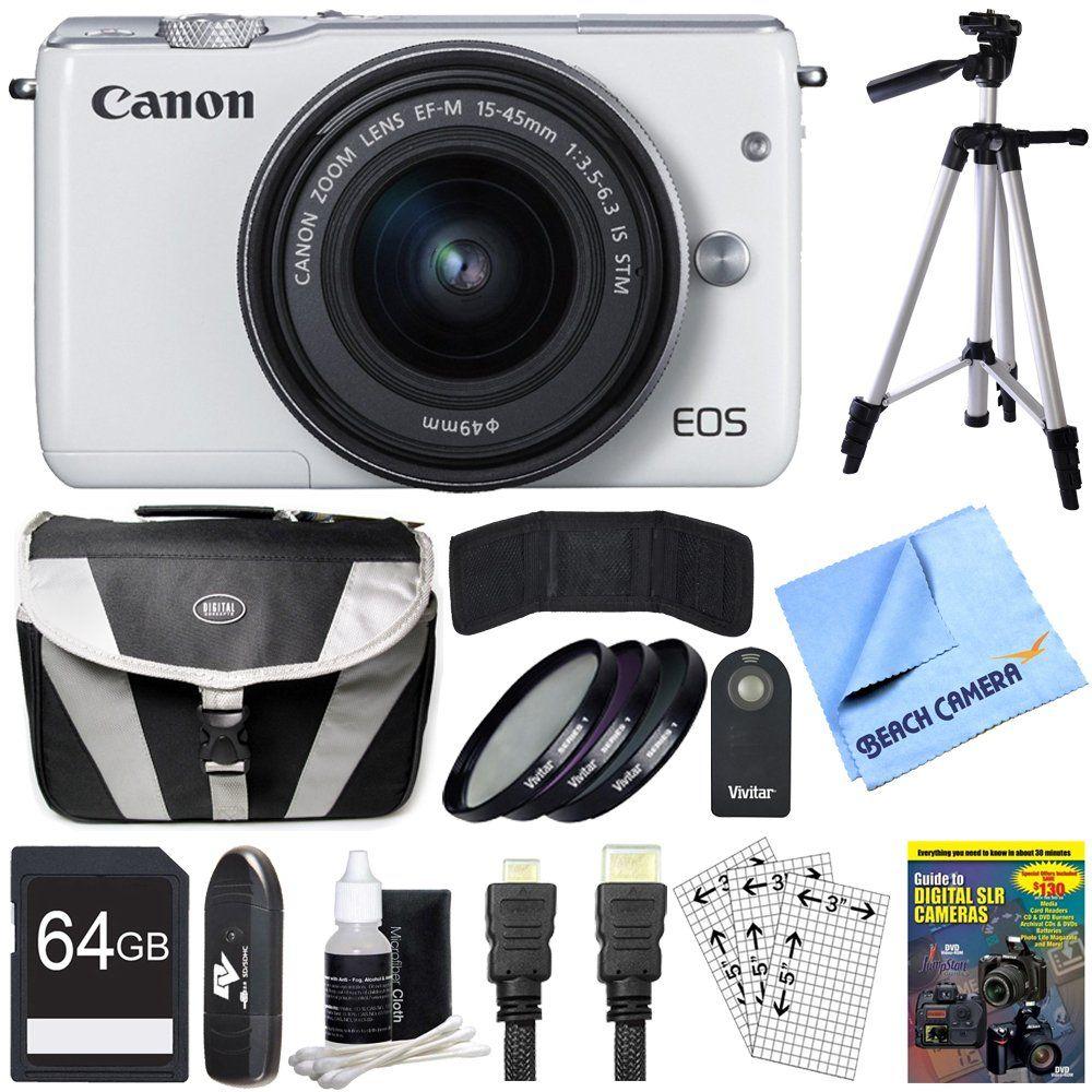 Canon EOS M10 Mirrorless Camera White 15-45mm Lens 64GB Bundle