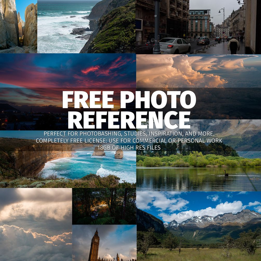 All 18GB of my reference, all for free. Use it for personal and commercial projects with zero attribution. The photos are all at the full resolution from my cameras and feature landscapes, architecture, wildlife, skies, and more. These work great for photobashing as well as they do for studies. Packs included: - Bucharest & London. - Australia. - New Zealand. - American Southwest. - Switzerland. - Iceland. - England & France. - Yosemite. - NEW: Caves! Go make awesome art.