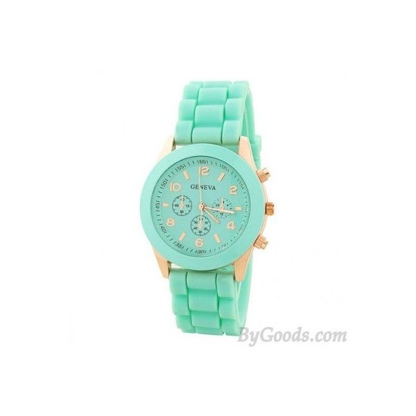 Fashion Mint Green Sports Watch (105 CNY) via Polyvore featuring jewelry and watches