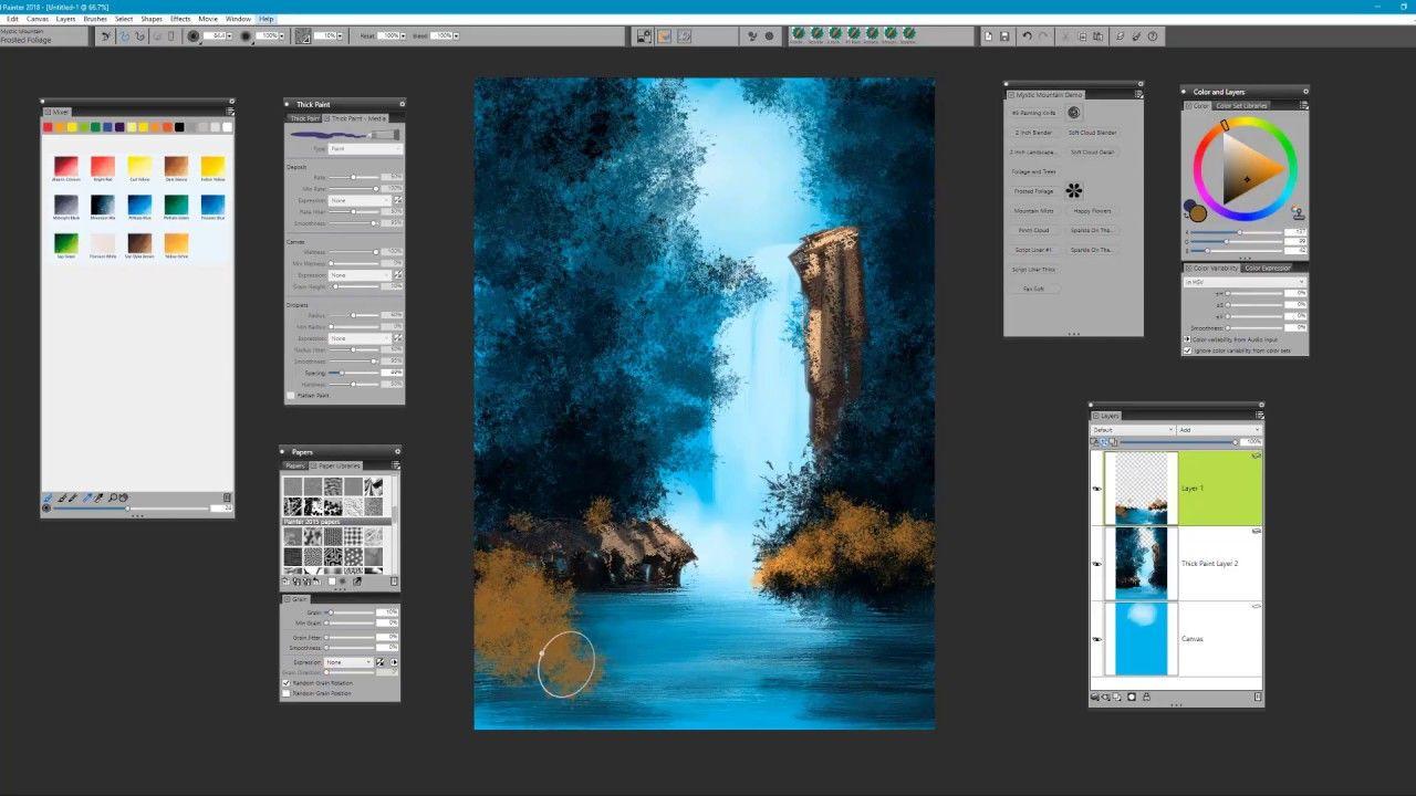 Painting Bob Ross' Graceful Waterfall using Painter 2018