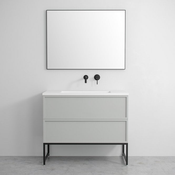 Luxe Mirror With Slimline Matte Black Metal Frame 1000 Freestanding Vanity Unit Bathroom Freestanding Vanity Units