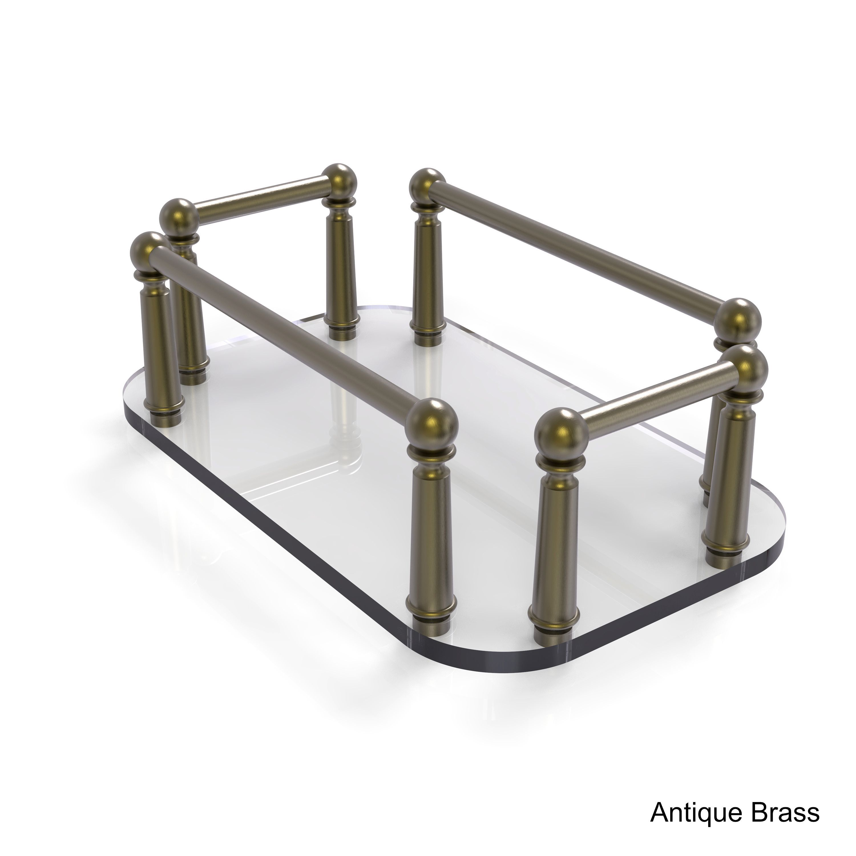 Allied brass vanity top glass guest towel tray antique brass