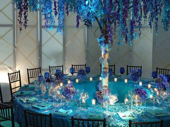 Winter Inspired Reception Tables Purple Wedding Decorations