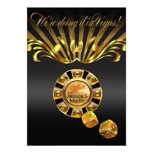 Art Nouveau Vegas Wedding | gold black Invites