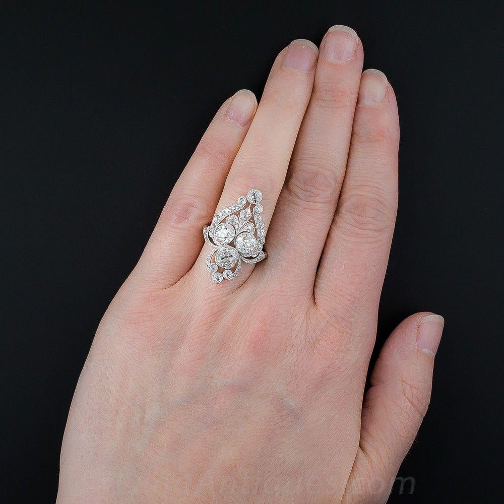 Marcus & Co. Edwardian Platinum and Diamond Dinner Ring - Vintage ...