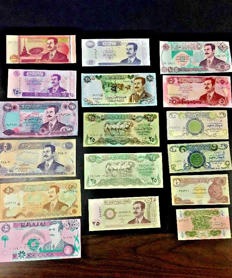 17 Nots UNCIRCULATED SADDAM HUSSEIN IRAQ//IRAQI DINAR PAPER MONEY BANKNOTE LOT