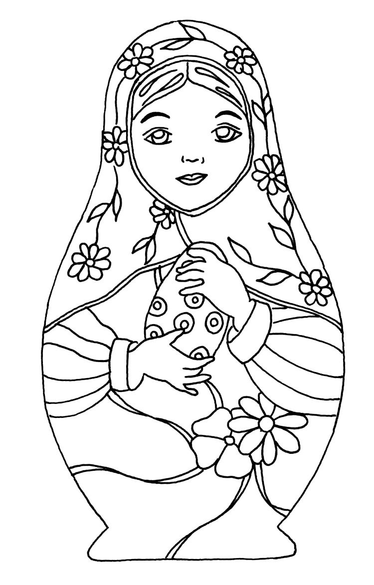 Russian Nesting Dolls Coloring Page Doll Drawing Matryoshka