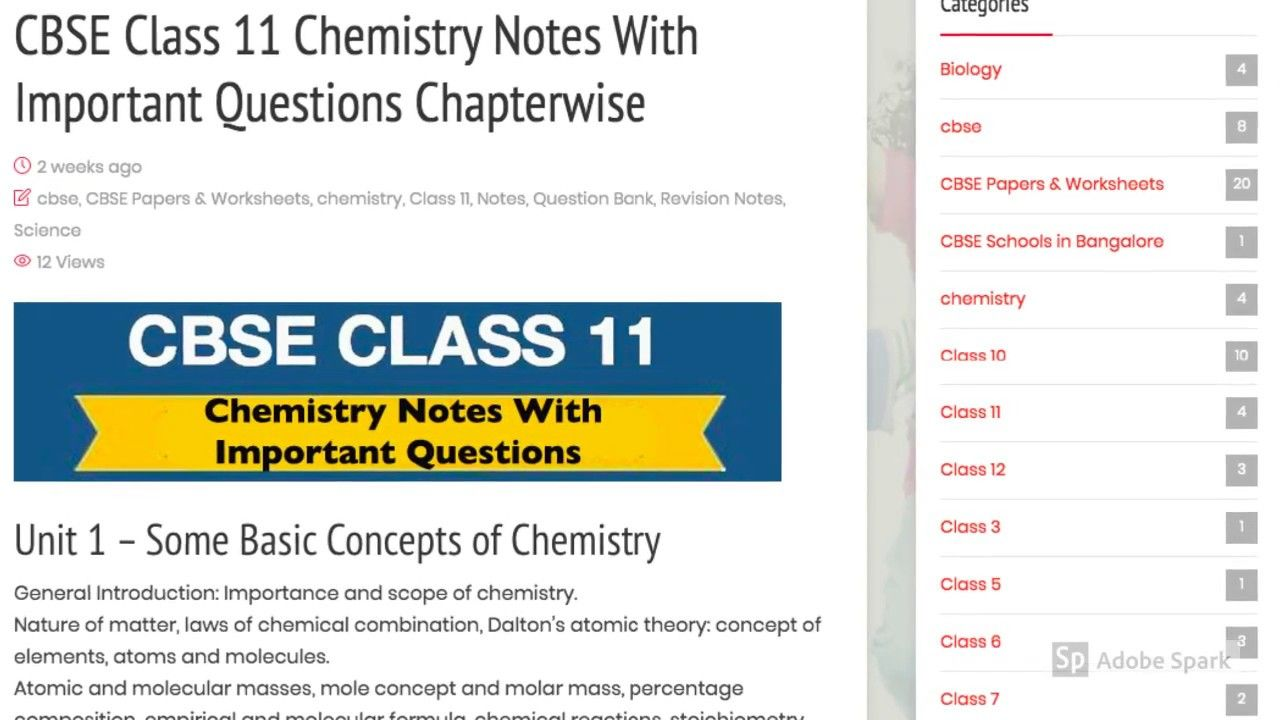 Chemistry Class 11 Notes with Important Question Answers