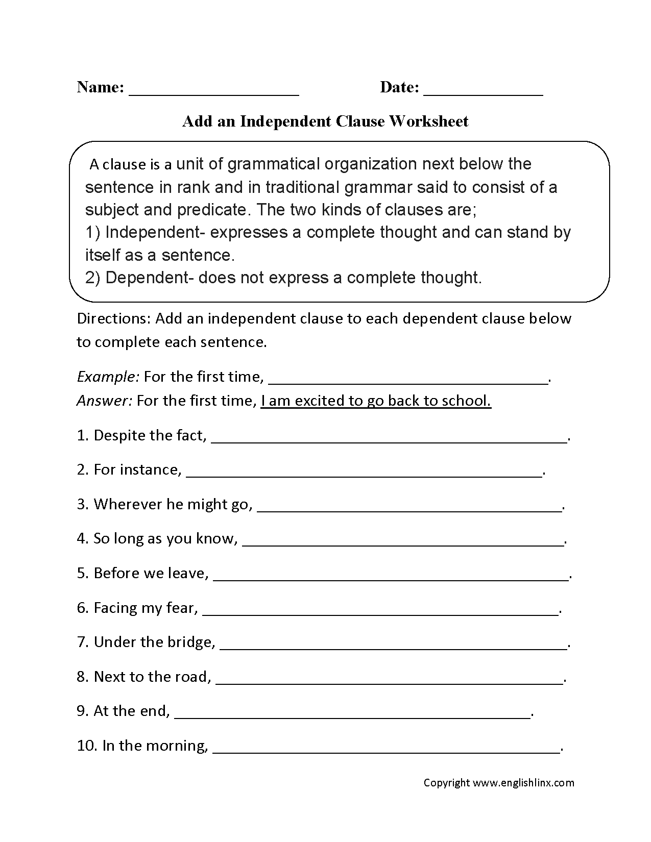 Add Independent Clause Worksheets