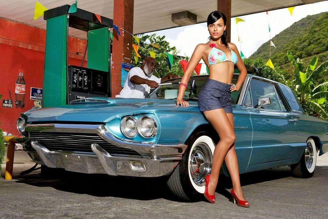 Pin By Bluesfan57 On Cool Auto Car Girls Ford Thunderbird Car Girl