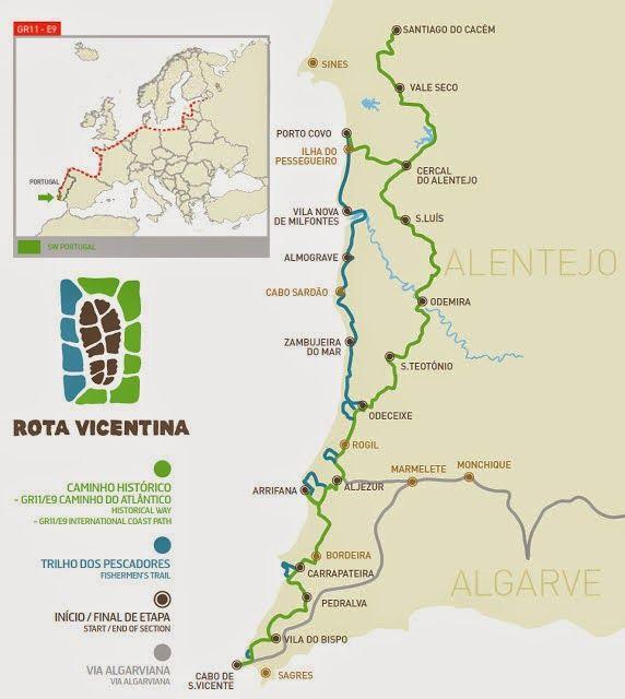 mapa costa alentejana algarve Mapa de Rota Vicentina | Portugal travel | Pinterest | Portugal  mapa costa alentejana algarve