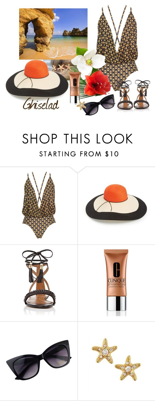 """Beach!!!!"" by ghiselad on Polyvore featuring mode, Lenny, Eugenia Kim, Aquazzura, Clinique et Juicy Couture"