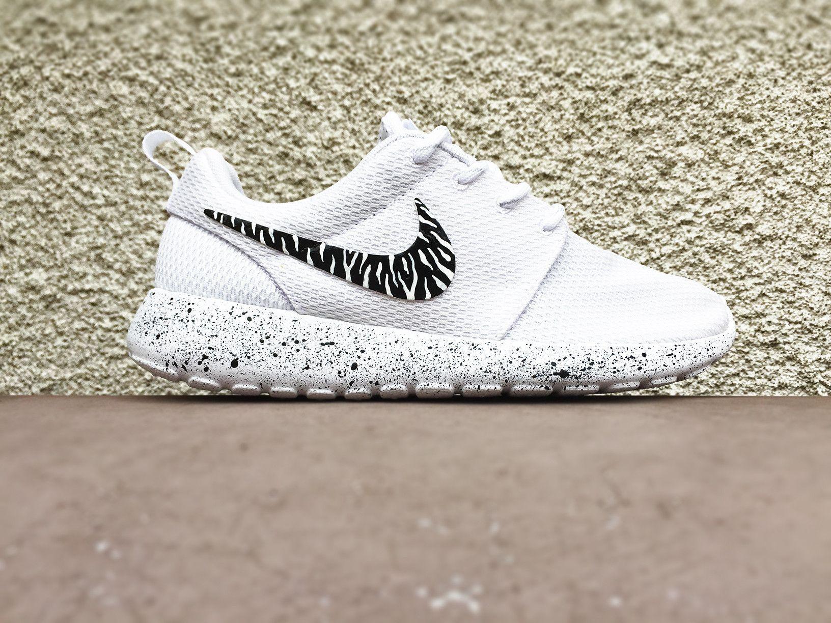 the latest 8361b deeaa Custom Nike Roshe black and white zebra print, White with black splatter,  Cute trendy design, Womens custom Roshe