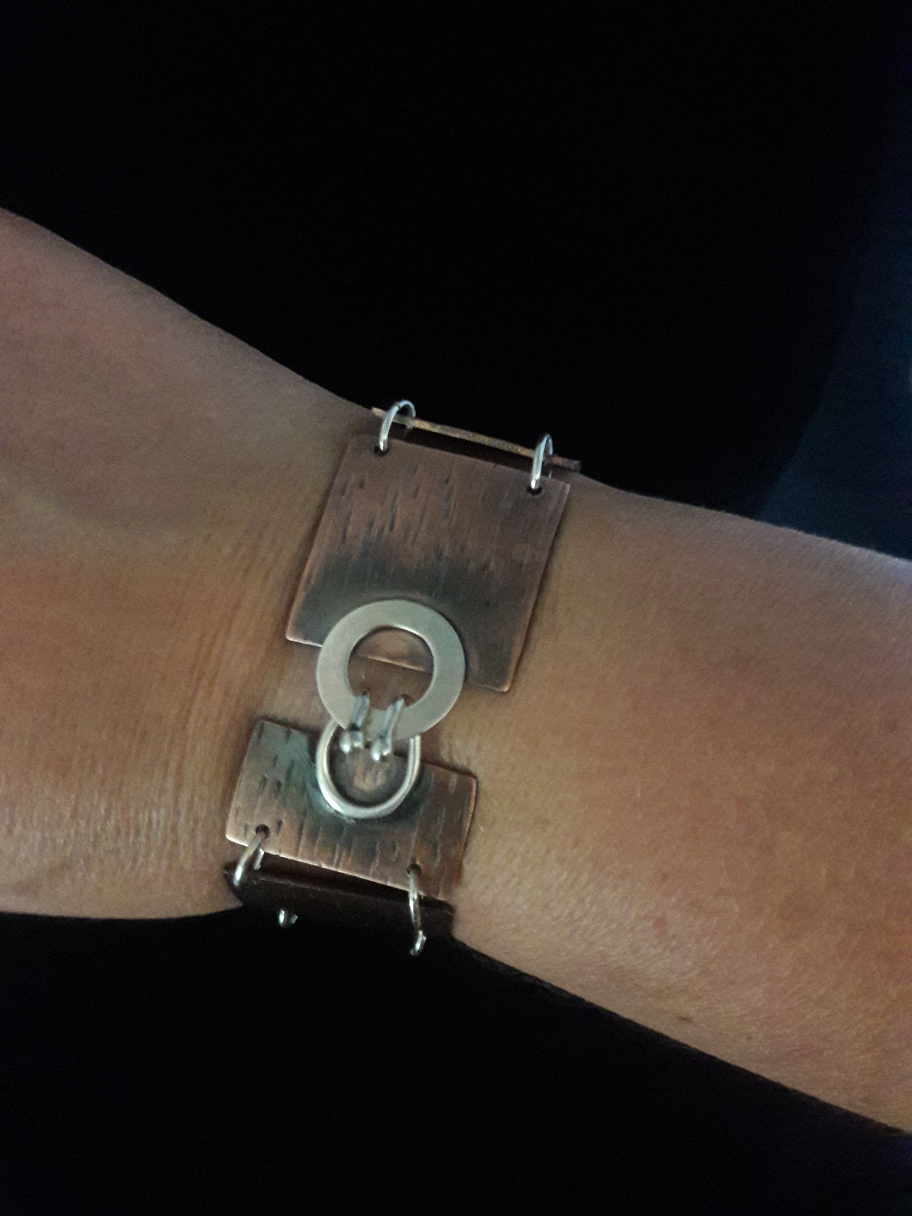 This Copper Link Bracelet Was Created From 18 Gauge Sheet Metal Texturized With Hammer And Liver Unique Items Products Jewelry