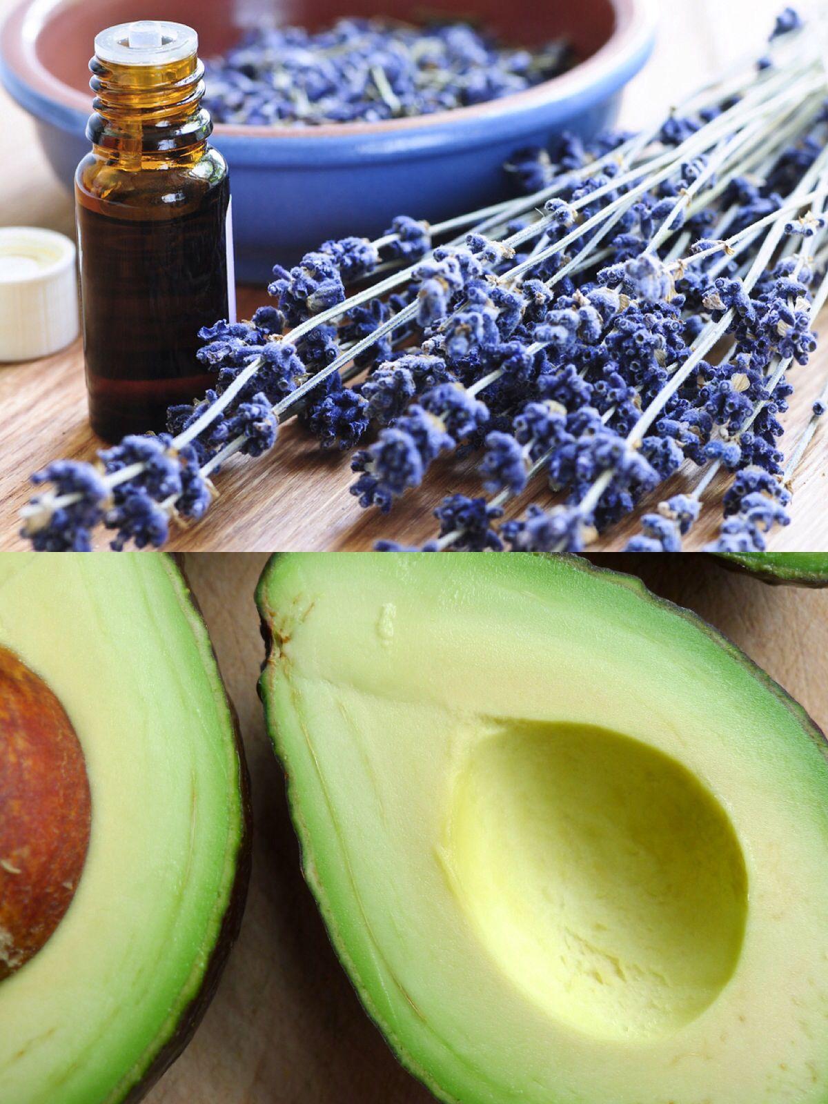 Avocado hair mask  (to help repair split ends)   ~1 mashed avocado   ~2 drops lavender Essential Oil