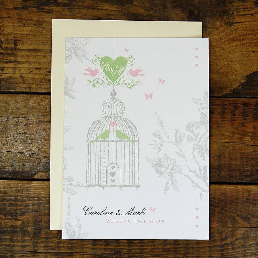Vintage Style Birdcage Wedding Invitation | Vintage invitations ...