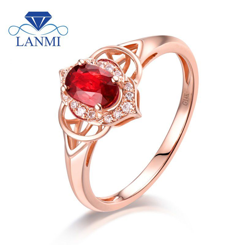 65cb430fd9f Real 14K Rose Gold Natural Ruby Ring Oval Luxury Diamond Wedding Engagement  Genuine Gem Thanksgiving Jewelry