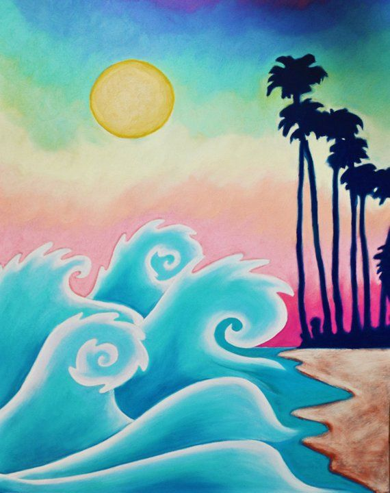 Waves on Waikiki Print (Peaceful Hawaii Pastel Sunset